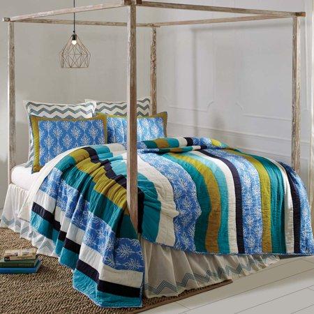 Cornflower Blue Coastal Bedding Laguna Cotton Pre-Washed Patchwork Cambric Striped Luxury King (Laguna Stripe)