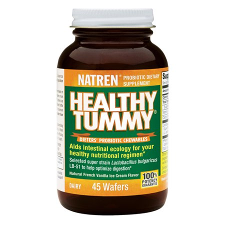 Natren Healthy Tummy Dieters Probiotic Chewables Wafers, Vanilla Ice Cream Flavor, 45