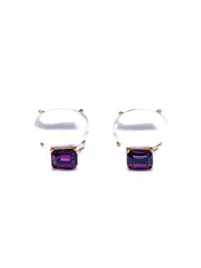 Amethyst and Pearl Stone Clip Earrings