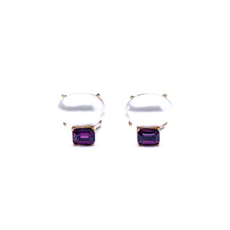 Amethyst and Pearl Stone Clip Earrings Avon Amethyst Earrings