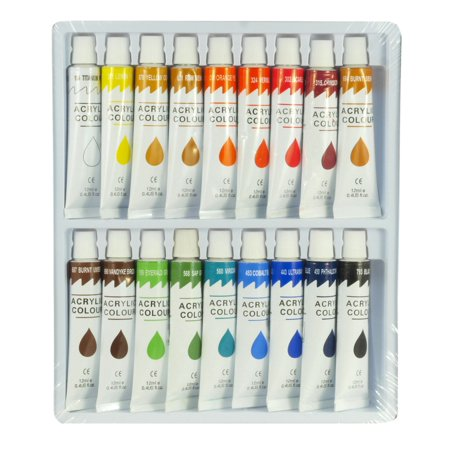 Zen Art Supply 18 Color Acrylic Paint Set 12 ml Tubes Artist Draw Painting Rainbow Pigment