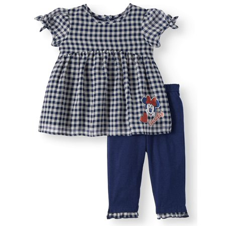 Short Sleeve Gingham Tunic Top & Leggings, 2pc Outfit Set (Baby Girls)