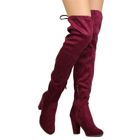New Women Breckelles Gina-38 Faux Suede Thigh High Drawstring Block Heel Boot Block Heel Thigh Boot