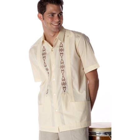 Embroidered Guayabera Shirt (Men's embroidered Guayabera Poly-Cotton. SIZE:2X COLOR:BG )
