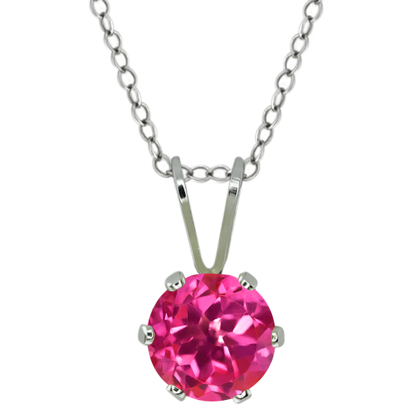 1.00 Ct Round Shape Pink Mystic Topaz Sterling Silver Pendant
