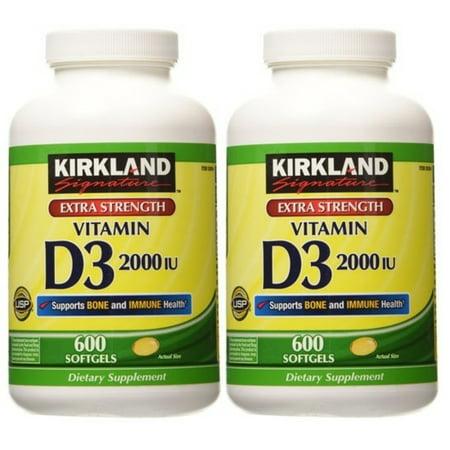 Kirkland Signature Extra Strength Vitamin D3 2000 Iu   600 Softgels  Pack Of 2