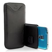Snugg B00IIOR0P8 Samsung Galaxy S5 Pouch Case, Black Leather
