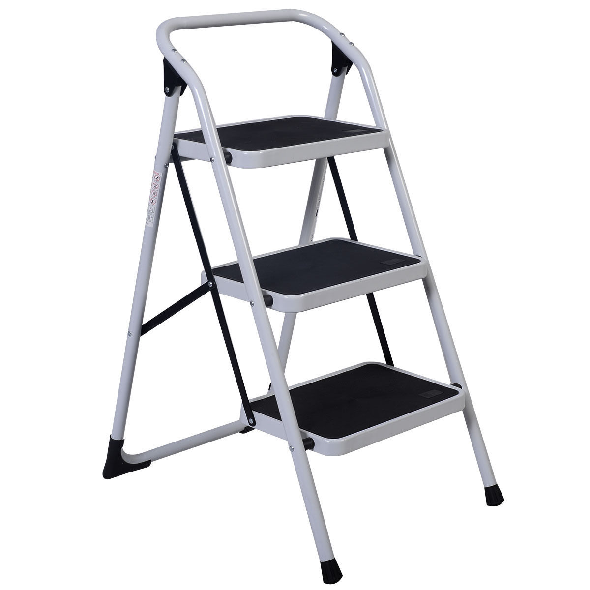 Costway 3 Step Lightweight Ladder HD Platform Foldable Stool 330 LB Cap. Saving Space by Costway