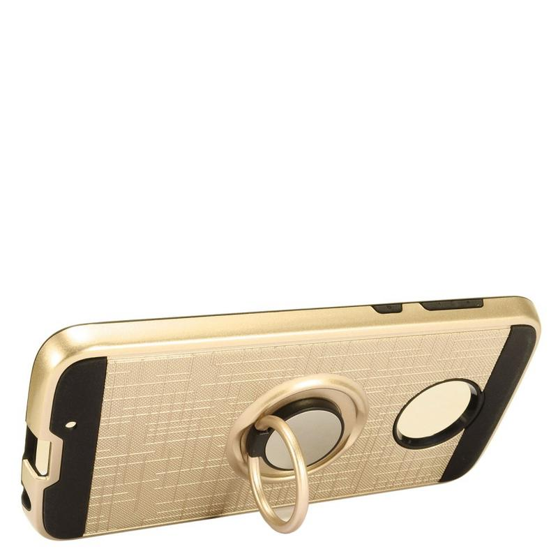 MUNDAZE Gold Brushed Ring Stand Magnetic Ready Case For Motorola Moto G6 Phone
