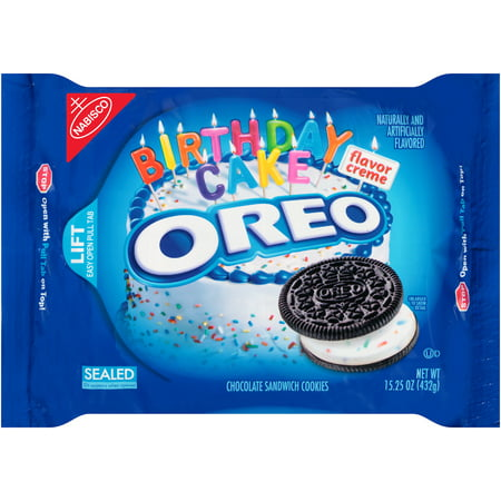 (2 Pack) Nabisco Oreo Chocolate Sandwich Cookies Birthday Cake, 15.25 OZ