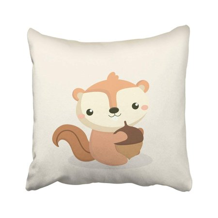 BPBOP Orange Adorable Cute Squirrel Cartoon White Amusing Animal Character Chipmunk Creature Pillowcase Cover 20x20 inch