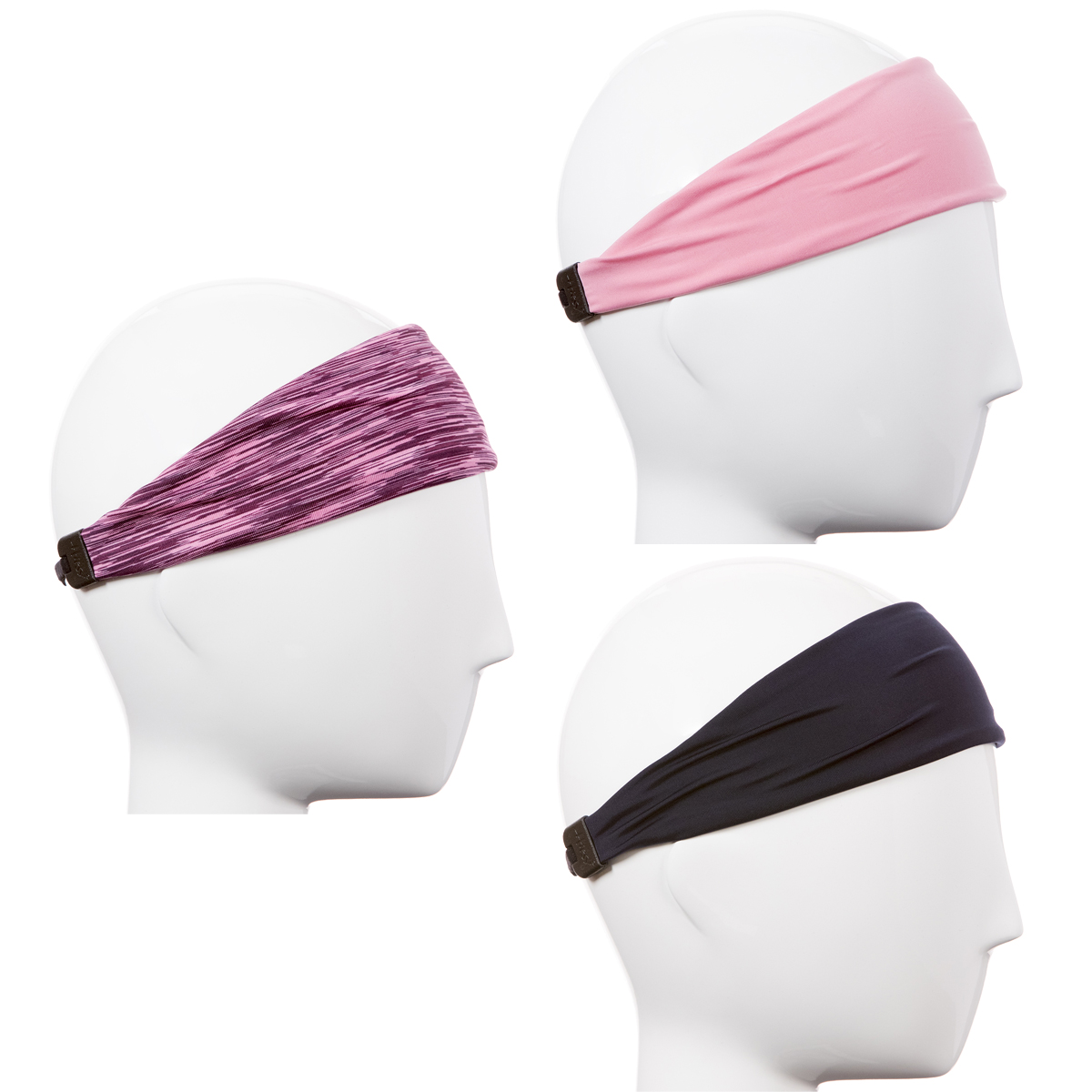 Hipsy Xflex Adjustable & Stretchy Yoga Sports Headbands for Women Gift Pack (Pink/Navy/Pink 3pk)