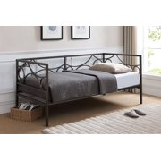vegas dark pewter metal day bed frame with headboard footboard rails slats