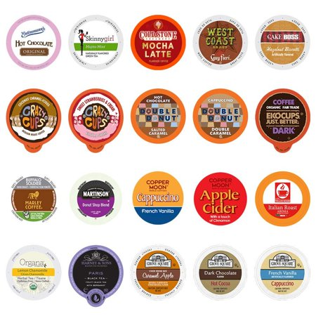 Coffee, Tea, Cider, and Hot Chocolate Single Serve Cups For Keurig Kcups Brewers, Variety Pack Sampler (Mix, 20) Mix 20