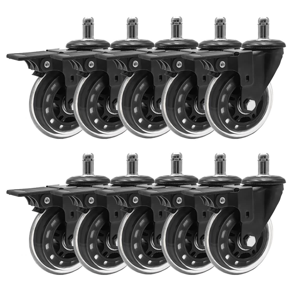 CasterBrake5011 Set of 5 with Brake 2 Replacement Office Chair or Stool Caster Wheels