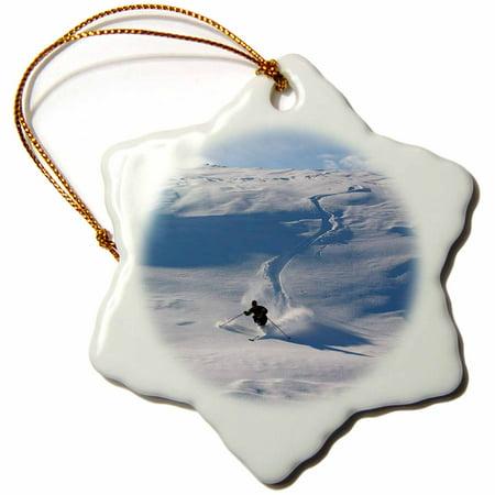 3dRose Man Storås telemark, skiing, Snowflake Ornament, Porcelain, 3-inch