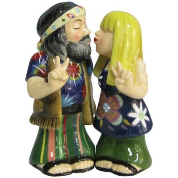 Westland Peace Hippie Couple Kiss Salt and Pepper Shakers...
