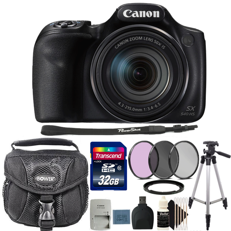 Canon Powershot SX540 HS 20.3MP Digital Camera 50x Optical Zoom with 32GB Deluxe Accessory Kit