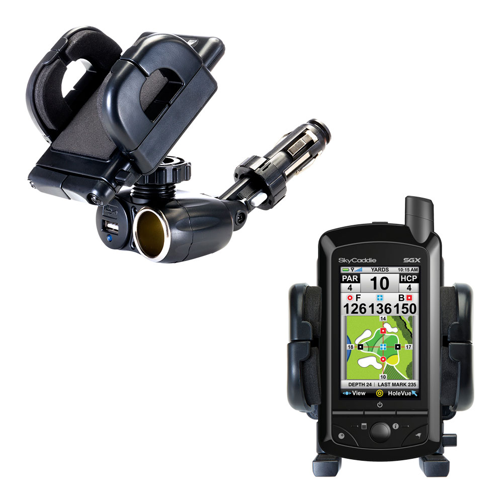 Dual USB / 12V Charger Car Cigarette Lighter Mount and Holder for the SkyGolf SkyCaddie SGX