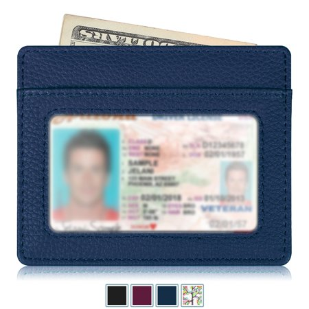 - Credit Card Holder with ID Window - RFID Blocking PU Leather Ultra Slim Wallet Credit Card Case Sleeve, Navy