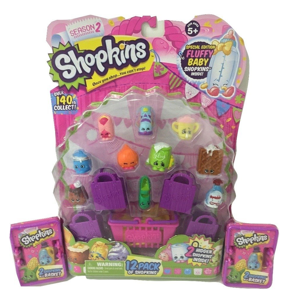 Season 2: 16 with 1 x 12-pack and 2 x 2-packs (3 Items), Includes 1 12-pack of Shopkins with 4 Shopping Bags and 1 Shopping Basket By Shopkins