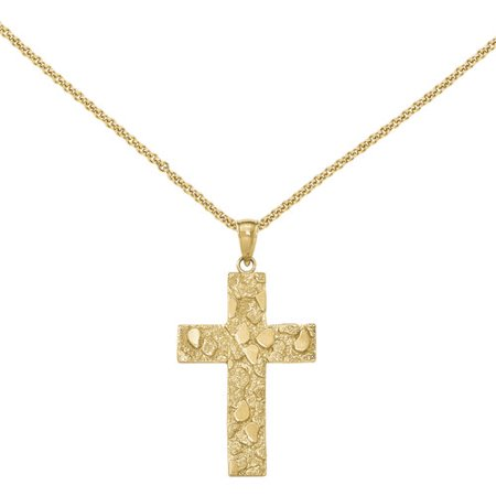 - 14kt Yellow Gold Polished and Textured Nugget Block Style Cross Pendant