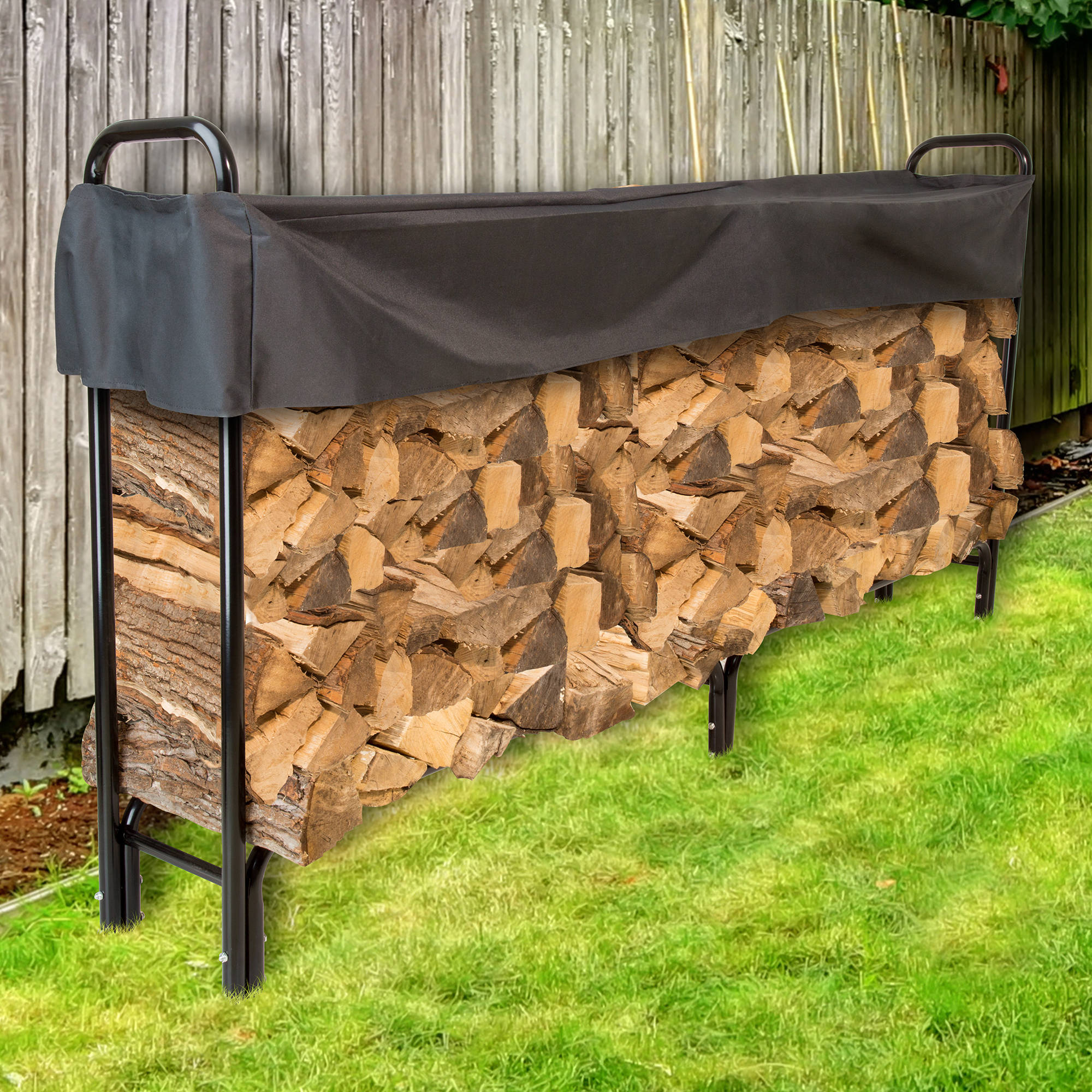 Pure Garden 8' Firewood Log Rack with Cover