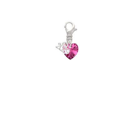 Hot Pink Crystal Heart - 2019 Clip on Charm