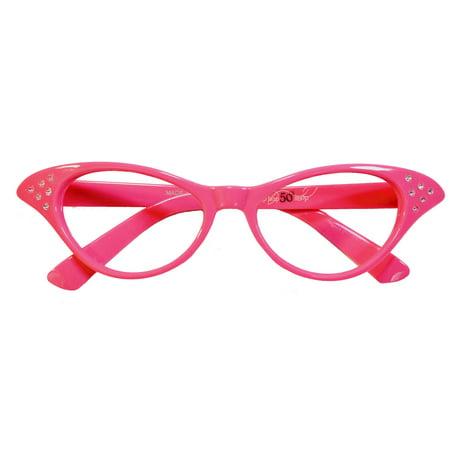 421154121220 Child - 50 s Girl s Cateye Glasses - Hot Pink - Walmart.com
