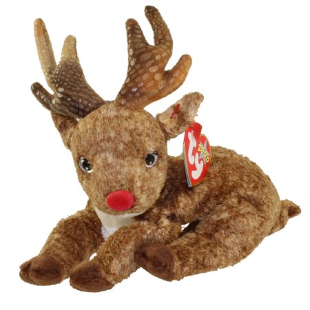 TY Beanie Baby - ROXIE the Reindeer (Red Nose) (7.5 inch) - Stuffed Reindeer