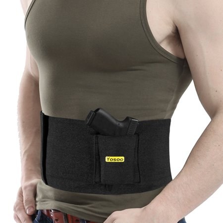 Yosoo Belly Band Holster Concealed Carry Adjustable Hand Gun IWB Holsters with Magazine Pouch for Men Women, Fits Glock 19 43 42 17, M&P Shield, S&W, Ruger lcp, Bodyguard 380, 9mm