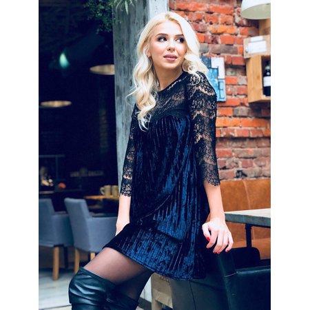 918446473f32 UKAP - Womens Casual Round Neck Sleeve Solid Vintage Floral Lace Velvet  Ruffle Half Sleeve Swing Dress Long Dress - Walmart.com