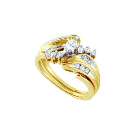 Marquise Solitaire Ring Setting (14kt Yellow Gold Womens Marquise Diamond Solitaire Bridal Wedding Engagement Ring Band Set 1/2 Cttw)