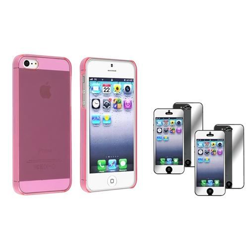 Insten Slim Clear Hot Pink Hard Case Cover+2x Mirror Screen Protector For iPhone 5S 5