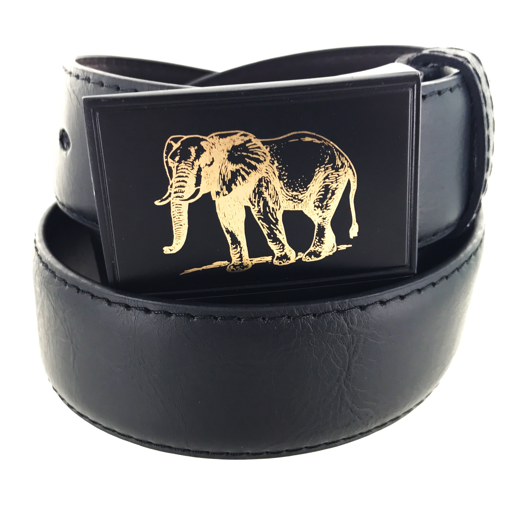 Faddism Mens Rectangular Buckle Safari Master Leather Belt Model:G118BK