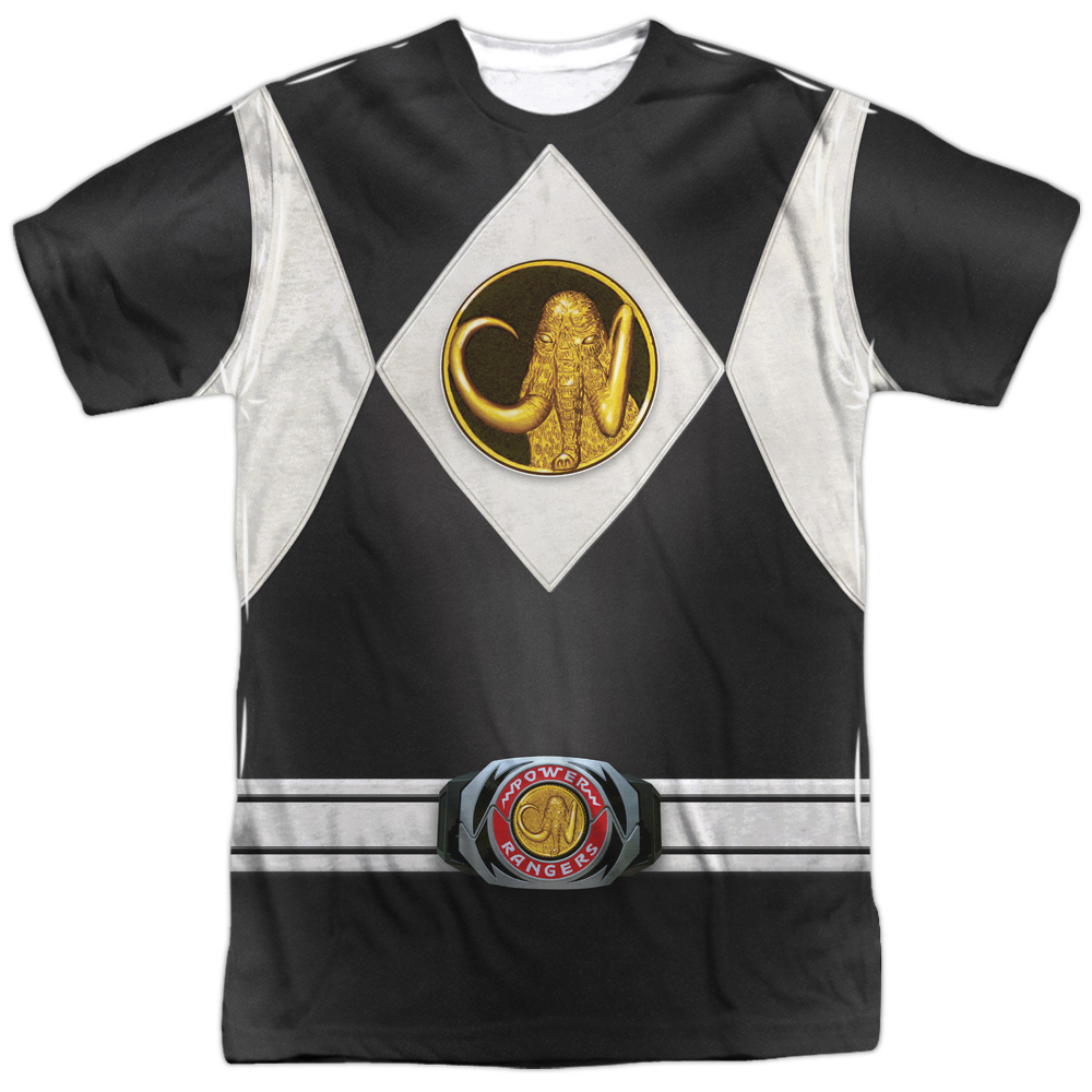 Mighty Morphin Power Rangers Black Ranger Uniform Mens Sublimation Shirt