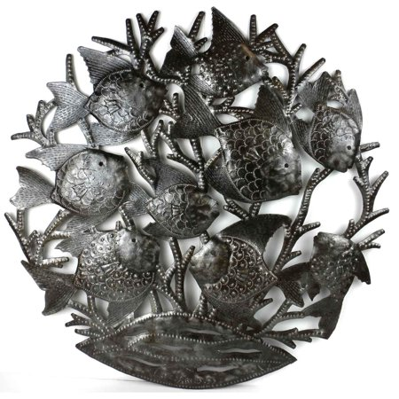 Global Crafts , Handmade in Haitian Metal Art \'School of Fish\' Wall ...