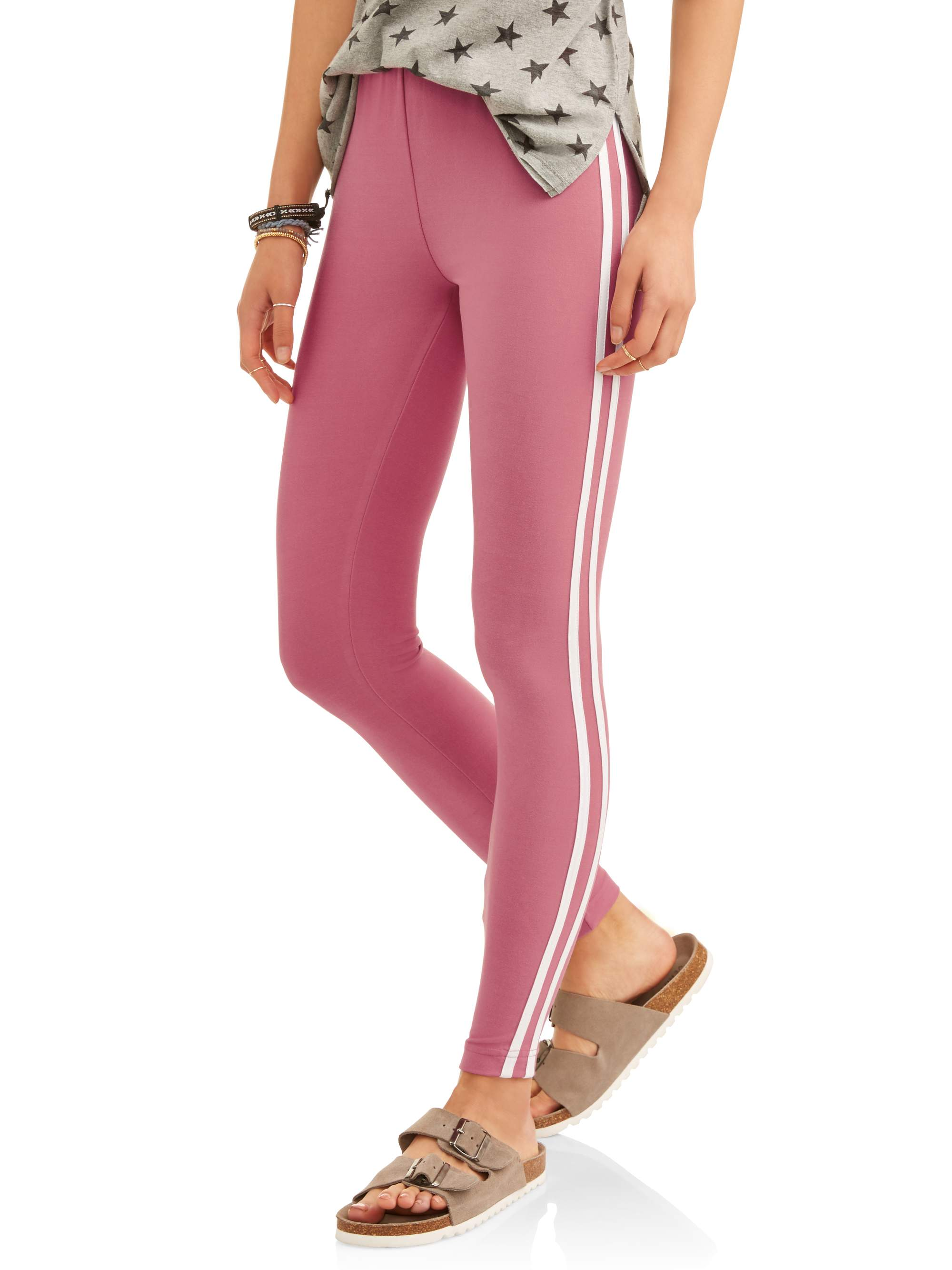 7-9 Pink No Boundaries Juniors Super Soft Side Stripe Ankle Leggings MEDIUM