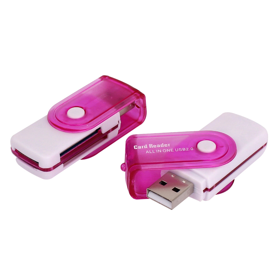 2 Pcs Pink USB 2.0 All in One Rotation Aluminium Memory Card Reader Micro SD