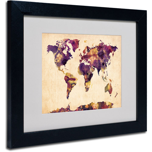 "Trademark Fine Art ""Watercolor Map 2"" Matted Framed Art by Michael Tompsett"