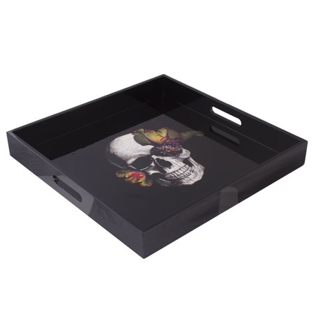 Laquer Tray (Black Lacquer Wood Large Square Serving Tray Skull & Flower)