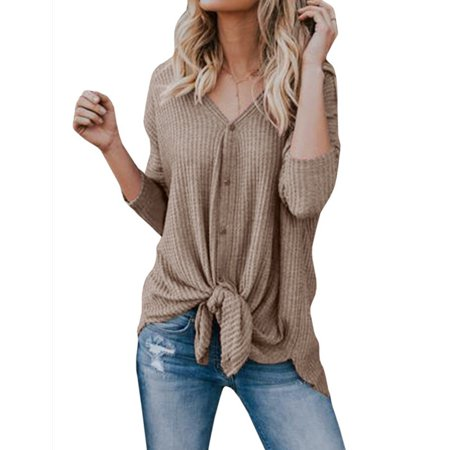 Womens Knit Cardigan Tunic Blouse Tie Knot Henley Tops Loose Fitting Bat Wing Basic Plain Shirts