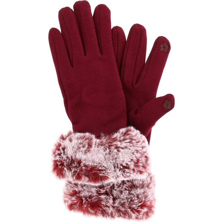 Size one size Women's Touch Screen Gloves with Matching Fur Trim, Burgundy ()