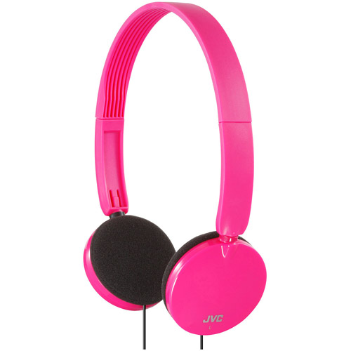 JVC Lightweight On Ear Foldable Headphones, Pink