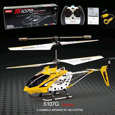 Cheerwing S107 S107G 3.5CH Alloy Mini Remote Control RC Helicopter Gyro Yellow