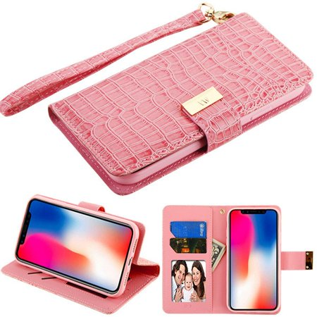 Apple iPhone XR (6.1 Inch) - Phone Case Leather Flip Wallet Case Cover Stand Pouch Book Magnetic Buckle Light Pink Crocodile Embossed Phone Case for Apple iPhone Xr (6.1