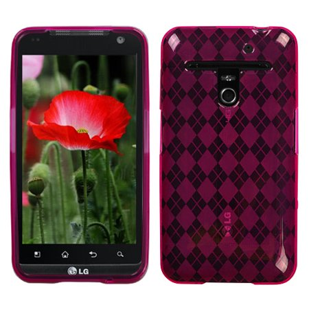 For VS910 Revolution Hot Pink Argyle Silicone Candy Skin Protector Cover Case ()