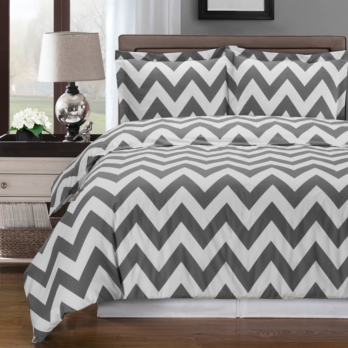 Royal Tradition Luxury 3-Piece Chevron Reversible Printed Cotton Duvet Covers and Shams Set