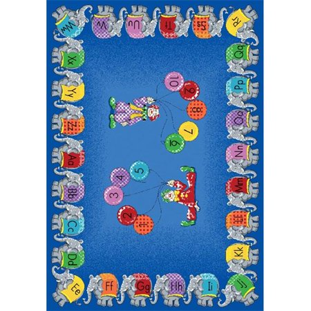 Five Elephants - Joy Carpets 1434C Circus Elephant Parade 5 ft.4 in. x 7 ft.8 in. 100 Pct. STAINMASTER Nylon Machine Tufted- Cut Pile Educational Rug