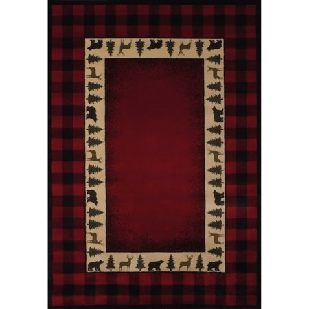 United Weavers Big Timber Buffalo Plaid Red Woven Polypropylene Area Rug or Runner (Plaid Runner Rug)